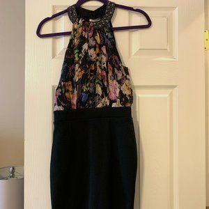 Embellished High Neck Mini Black & Floral Dress